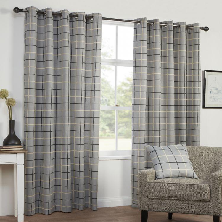 Grey  Stripe  Check  Lined  Eyelet  Curtains   Tonys Textiles