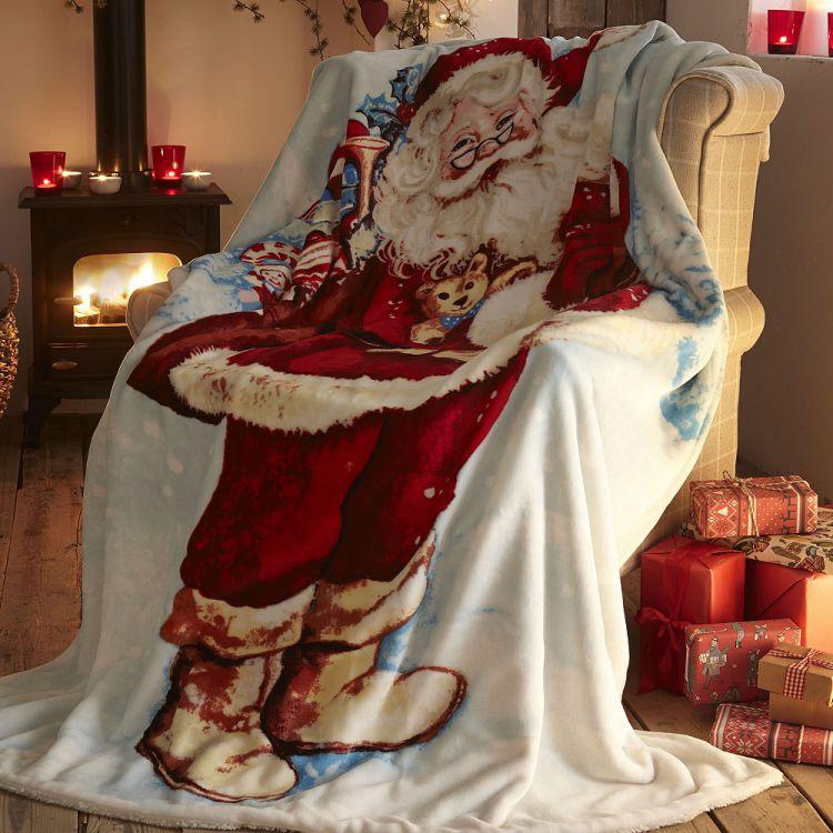 Father Christmas  Fleece  Blanket  Throw  Tonys Textiles