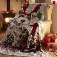 Machine Washable Kitchen Rugs Yellow Ivy & Snowy Christmas | Cat Dog Fleece Blanket ...