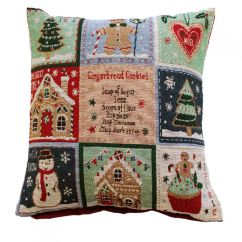 Kitchen Throw Rugs Washable Wire Racks For Gingerbread   Christmas Festive Cushion Cover Tony's ...