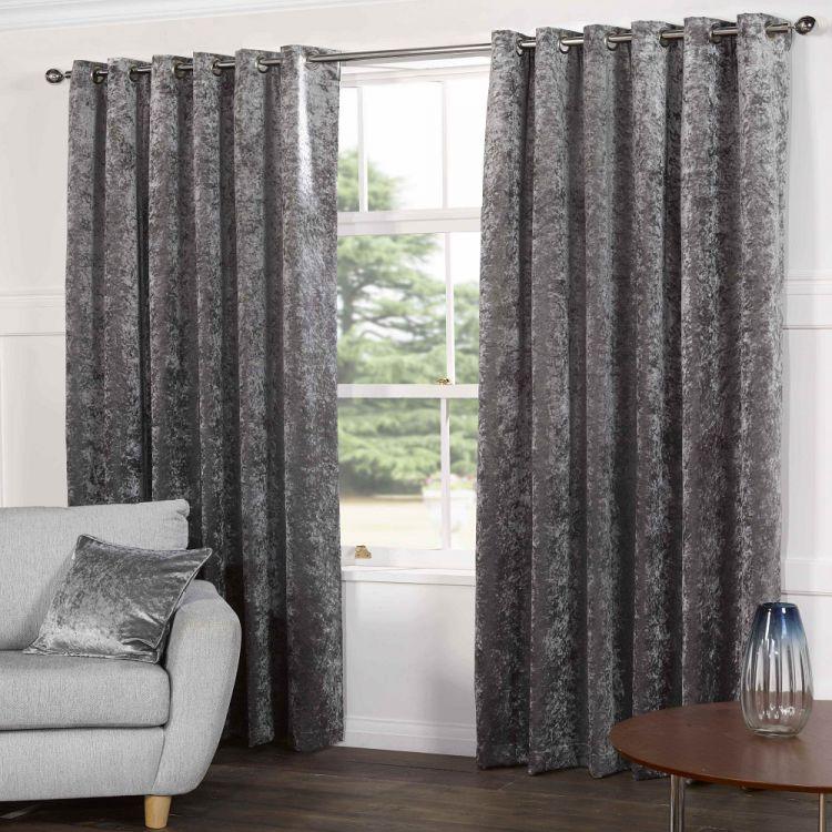 Silver  Crushed Velvet  Curtains  Tonys Textiles