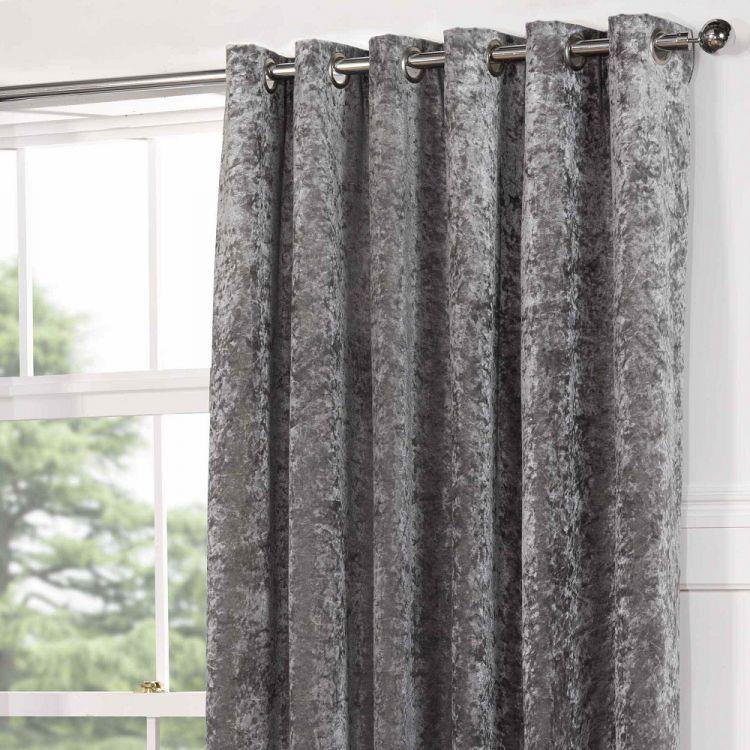 Kensington  Crushed Velvet  Eyelet  Door Curtain  Silver Grey  Tonys Textiles