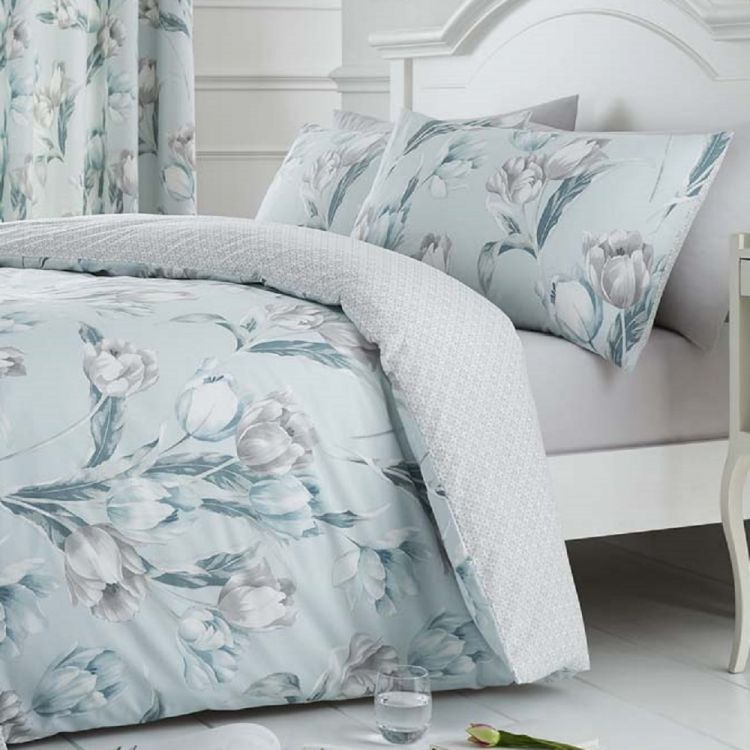 kitchen cushion covers marble island tulip floral | duvet cover set duck egg blue tonys ...