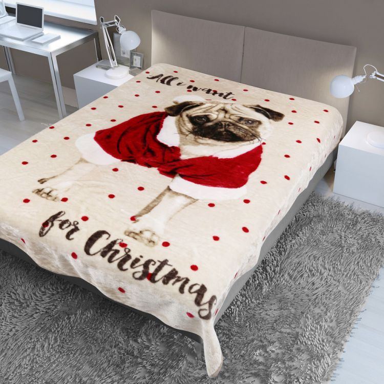Pug  Christmas  Mink  Fleece  Blanket  Throw  Tonys