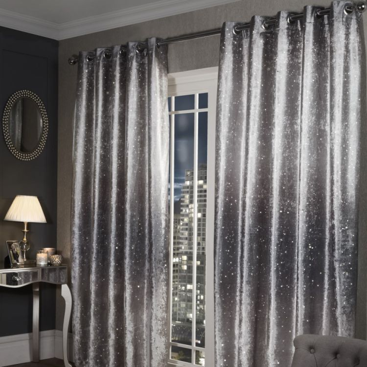 Glitter  Crushed Velvet  Ring Top  Curtains  Silver