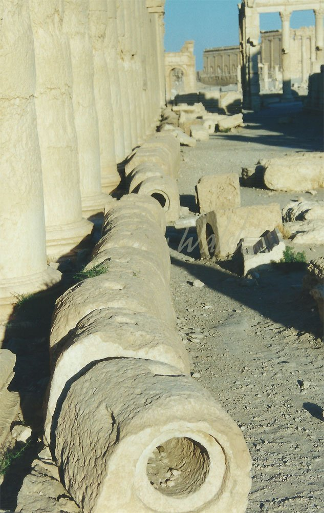 Roman Water Pipes Colonnaded-Street Palmyra