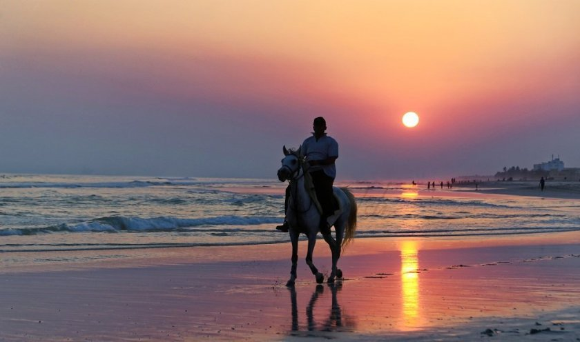 Horse and Rider on a Dhofari Beach