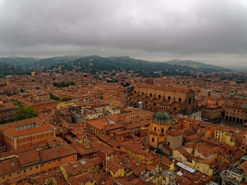 Sanctuary of Santa Maria della Vita and Piazza Maggiore from Asinelli Tower.