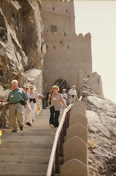 My tour group descends the steep Al Jalali Fort Stairs
