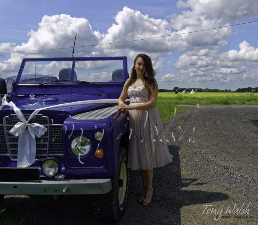 Bridesmaid and Land Rover Defender