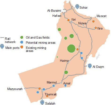 Map of routes from Oman Rail