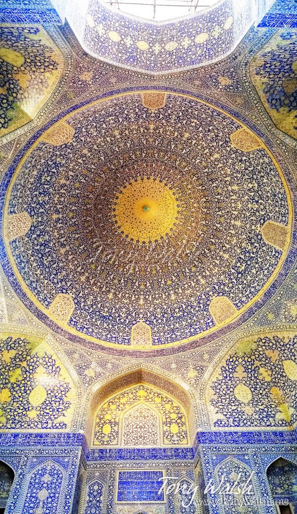 Looking up to Interior Dome Sheikh Lotfollah Mosque Isfahan
