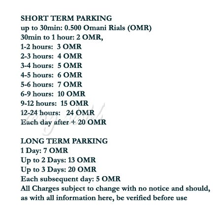 Muscat International Airport Car Parking Charge