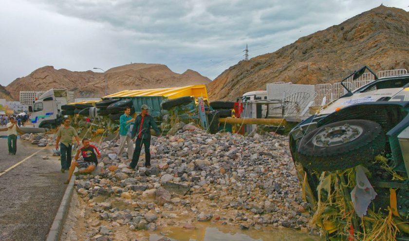 Overturned trucks Cyclone Gonu Oman