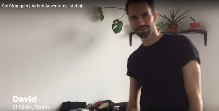 David organising his wardrobe for Airbnb Adventures