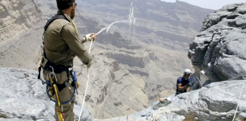 Setting up the descent into Wadi A'Nakhr Grand Canyon Oman
