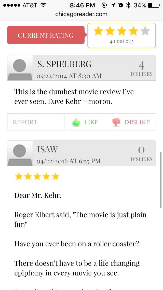 Mr. Spielberg didn't like this review one bit