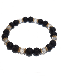 Black Lava Crystal and Gold - Repeat Pattern