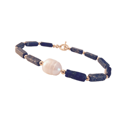 TT Lapis rectangle bracelet with Pearl in gold