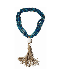 Briland Long Turquoise with Raffia Tassel Necklace FINAL