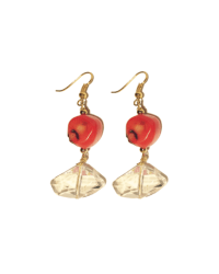 Geo-Crystal Coral earrings