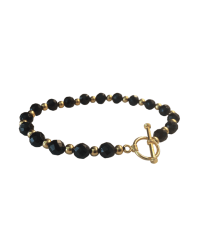 Gold and Black Onyx Faceted Simply Elegant Classic Bracelet final
