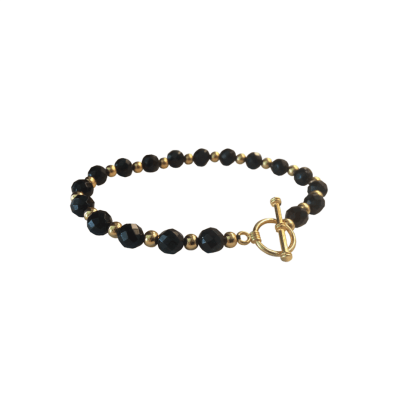 Simply Elegant Classic Gold and Black (Faceted) Onyx Bracelet