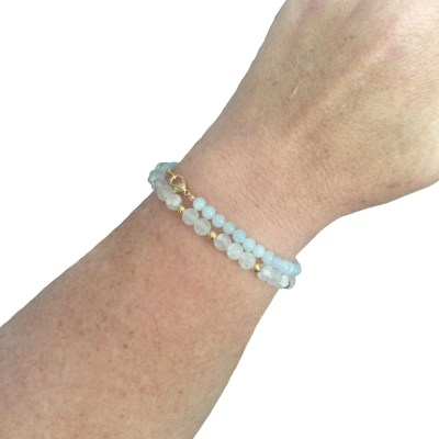 SET Frosted Glass and Aquamarine Simply Elegant Round Classic Bracelets
