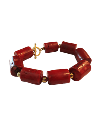 Tookey Speaks Red Coral Tube Bracelet