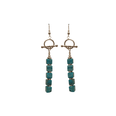 5 Cubes Turquoise / Sterling Silver (Earrings)