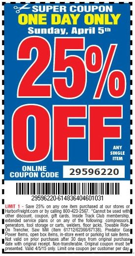 Harbor Freight Super Coupons April 2019