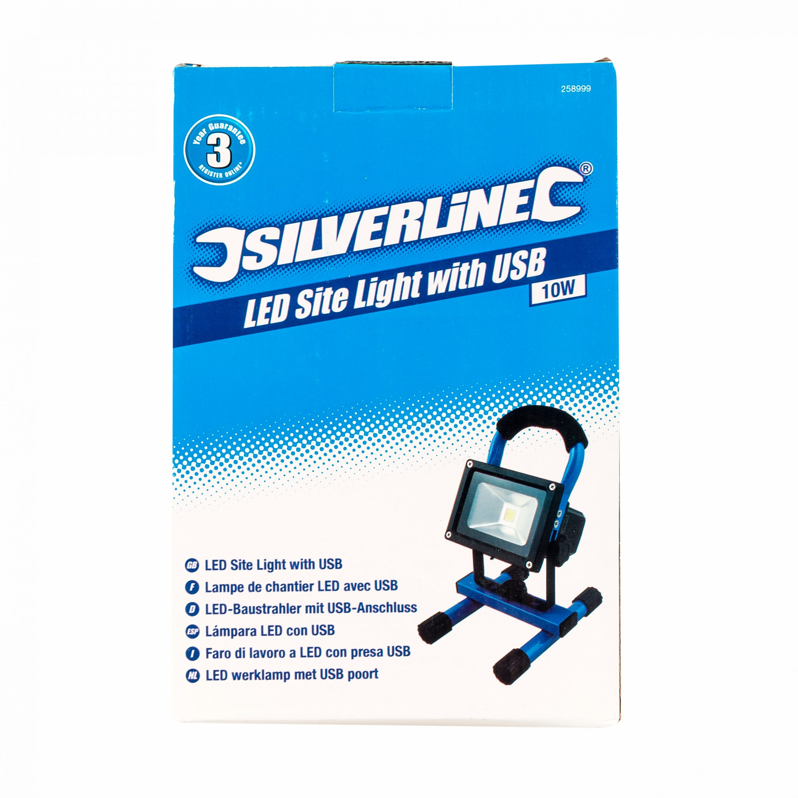 Silverline Led Rechargeable Site Light With Usb 10w Toolbolt