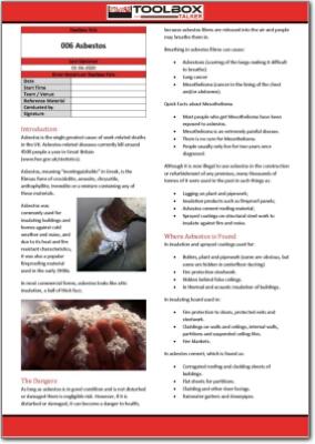 Asbestos toolbox talk