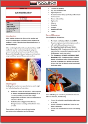 hot weather toolbox talk