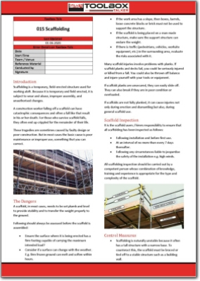 scaffolding toolbox talk