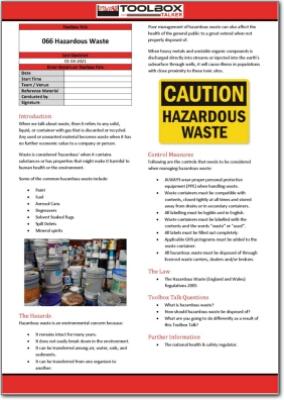 hazardous waste toolbox talk