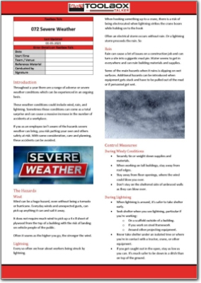 severe weather toolbox talk