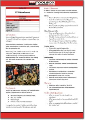 warehouse toolbox talk