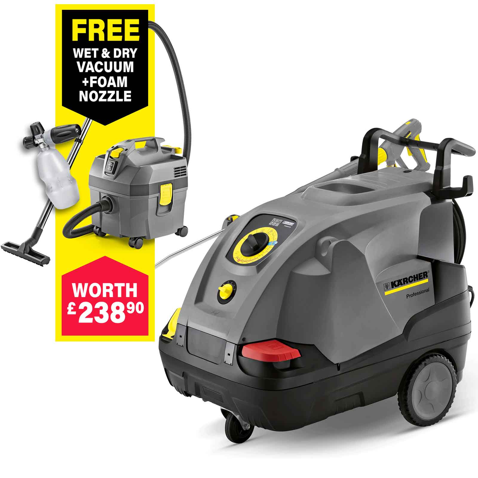 medium resolution of karcher hds 6 12 c professional hot water steam pressure washer 120 bar free foam nozzle worth 82 95