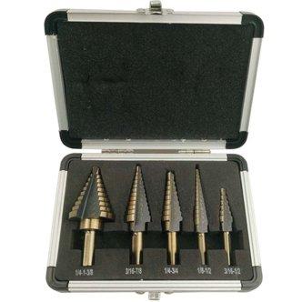 FeelGlad(TM)5pcs Titanium Step Drill Bits Set with Aluminum Case