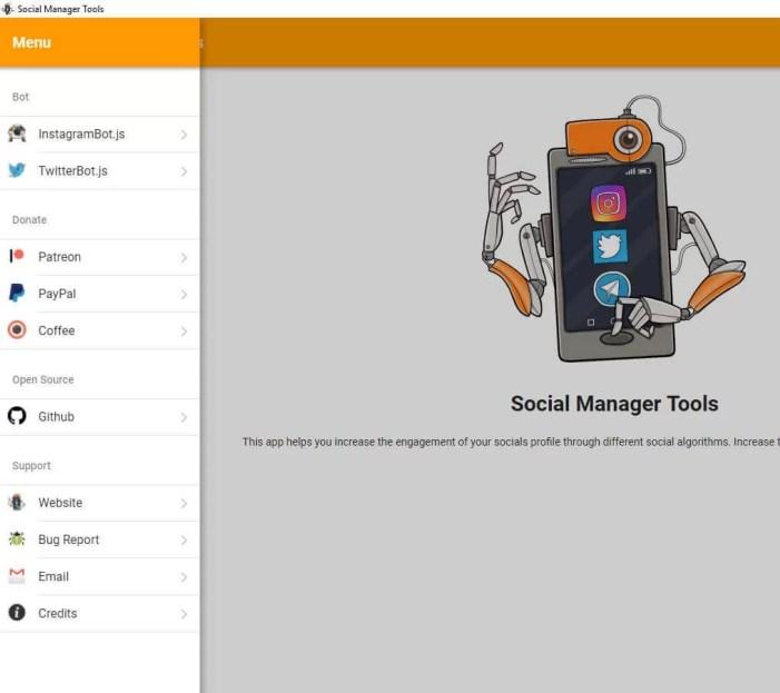 social manager tool menu