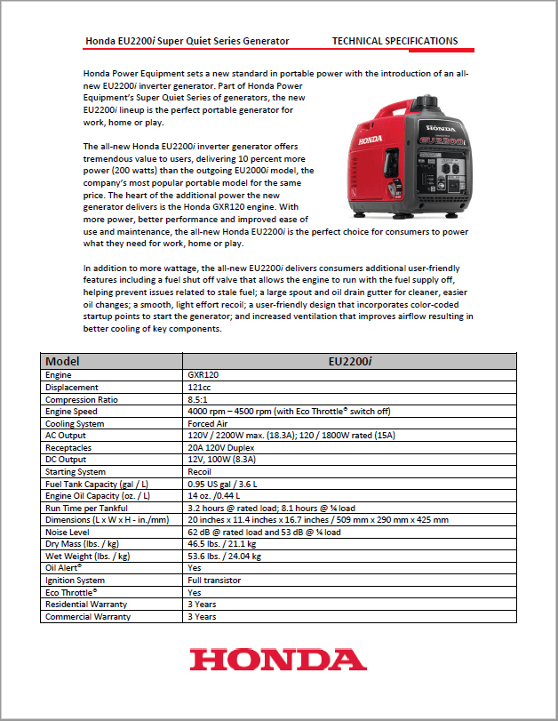 Honda EU2200i Inverter Generator Replaces EU2000i Model