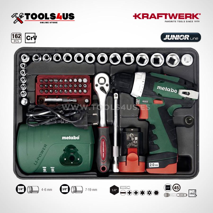1051 KRAFTWERK maleta aluminio herramientas completo 162 piezas 05 - Maleta Aluminio compacta con herramientas y atornillador taladro Metabo (162 piezas)