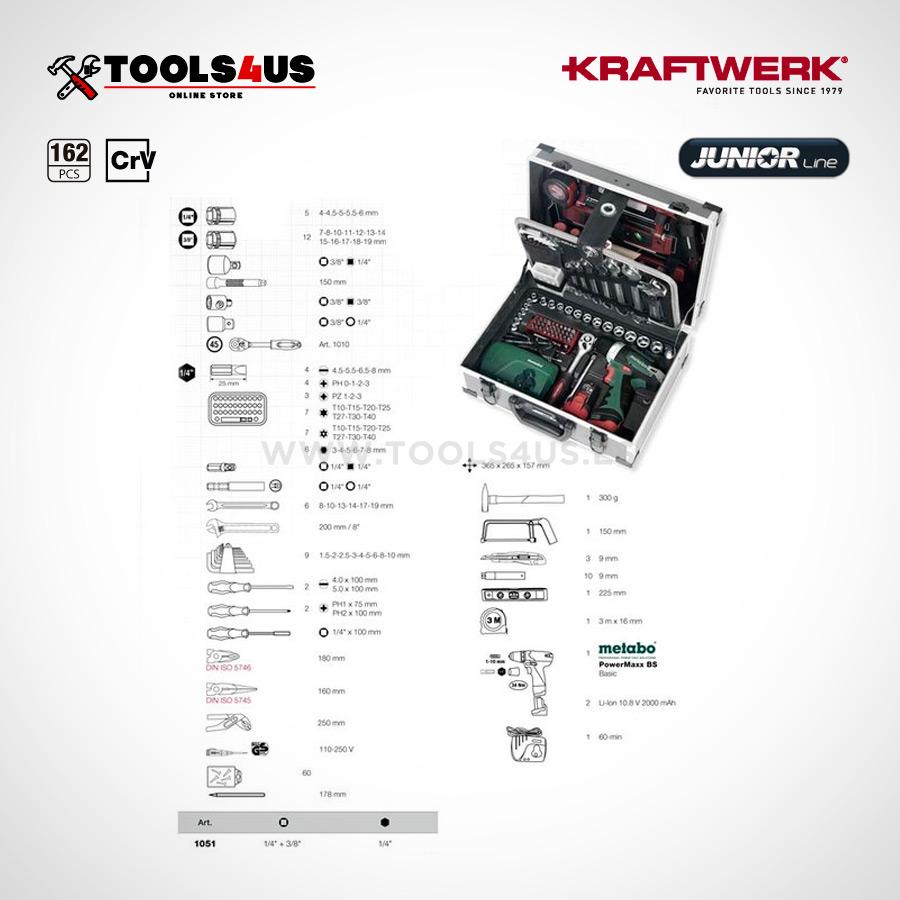 1051 KRAFTWERK maleta aluminio herramientas completo 162 piezas 07 - Maleta Aluminio compacta con herramientas y atornillador taladro Metabo (162 piezas)