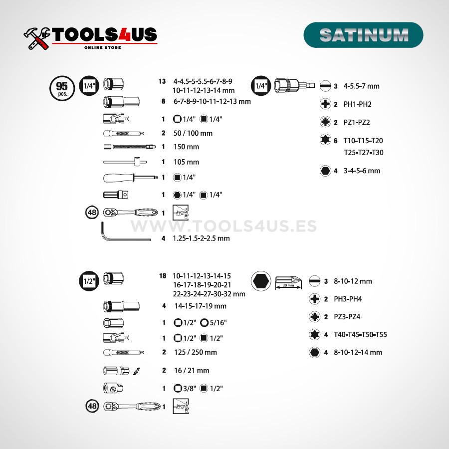 108 maletin herramientas completo carracas llaves vaso satinum 02 - Maletín completo 95 piezas