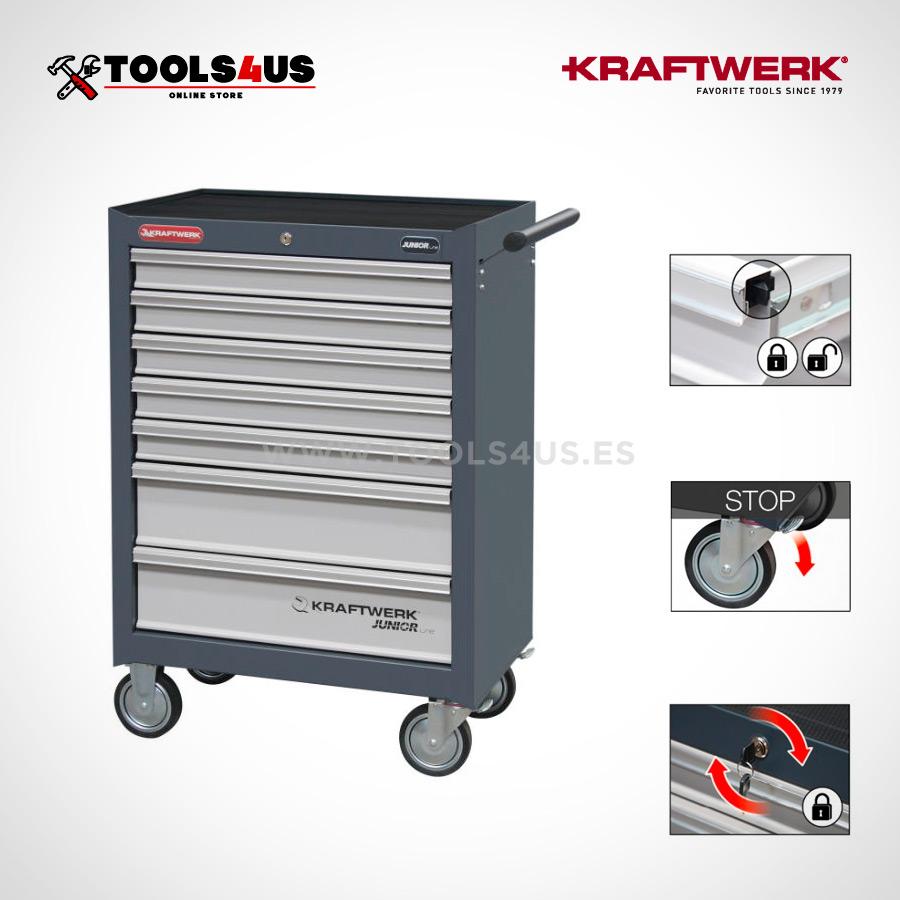 1095 carro completo junior line kraftwerk tools herramientas 03 - Carro Taller Completo 7 cajones con herramientas 339 piezas