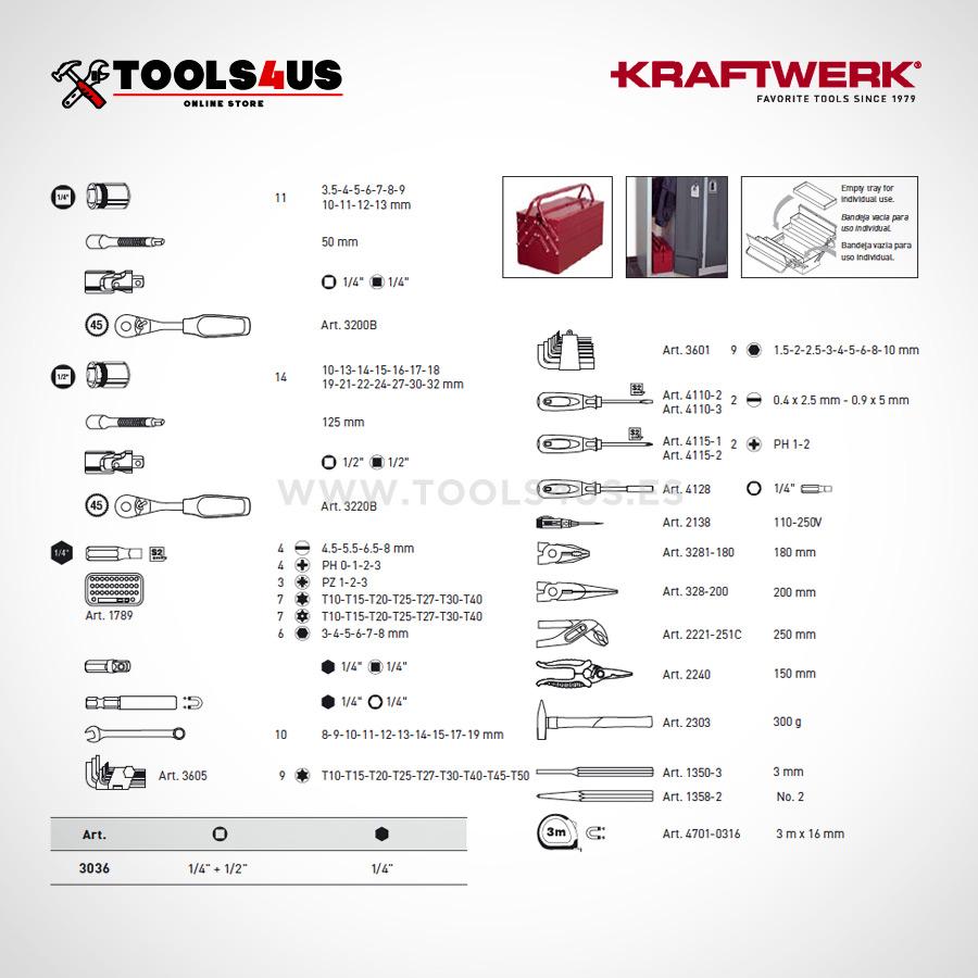 3036 Caja herramientas completa 106 hogar trabajo mantenimiento profesional 02 - Caja de Herramientas completa con 104 piezas KRAFTWERK
