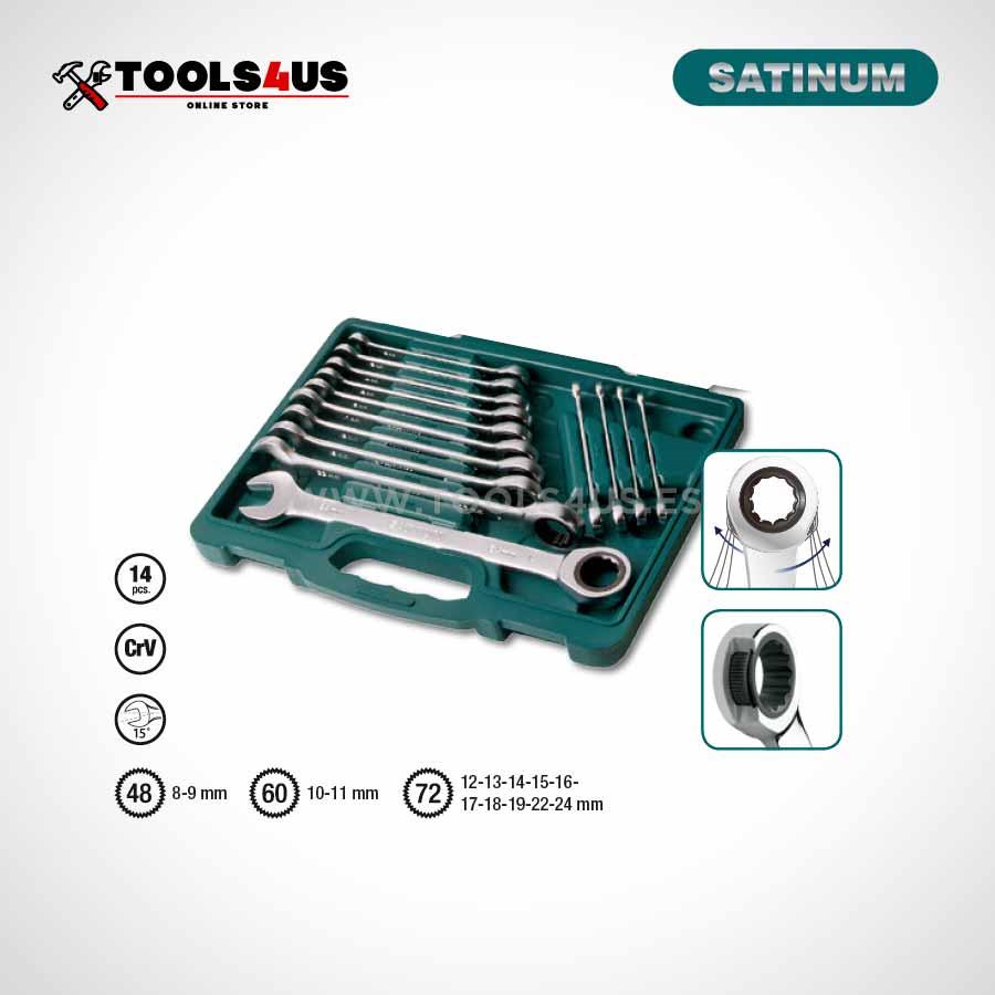 340 14 satinum estuche juego llaves combinadas carraca 02 - Juego llaves combinadas con carraca 14 piezas