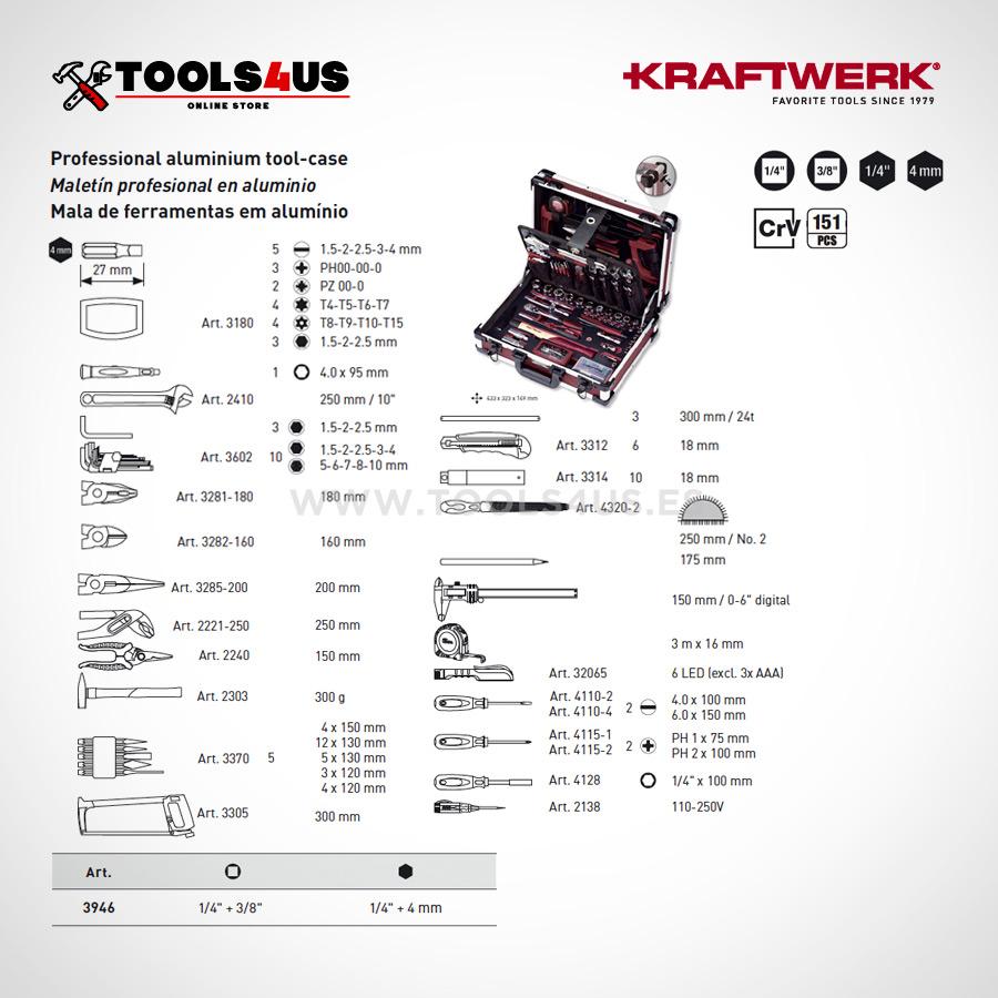 3946 Kraftwerk Maleta Herramientas Profesional Aluminio 151 piezas 04 - Maleta de Herramientas Profesonal en Aluminio (151 piezas)