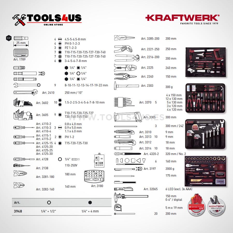 3948 Kraftwerk Maleta Herramientas Profesional Aluminio 263 piezas 04 - Maleta de Herramientas Profesonal en Aluminio (263 piezas)